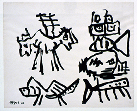 Karel Appel, Dessin, 1980, collection FRAC Poitou-Charentes